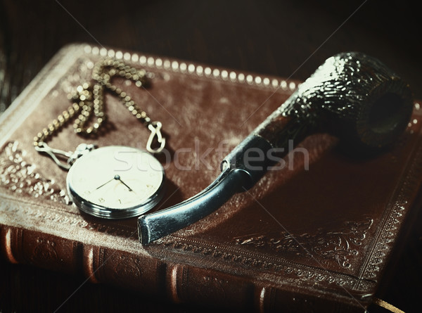 Abstract retro stilleven oude leder gedekt Stockfoto © tolokonov