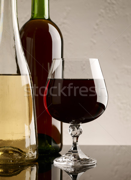 winery still life on the glass with red and white wine Stock photo © tolokonov