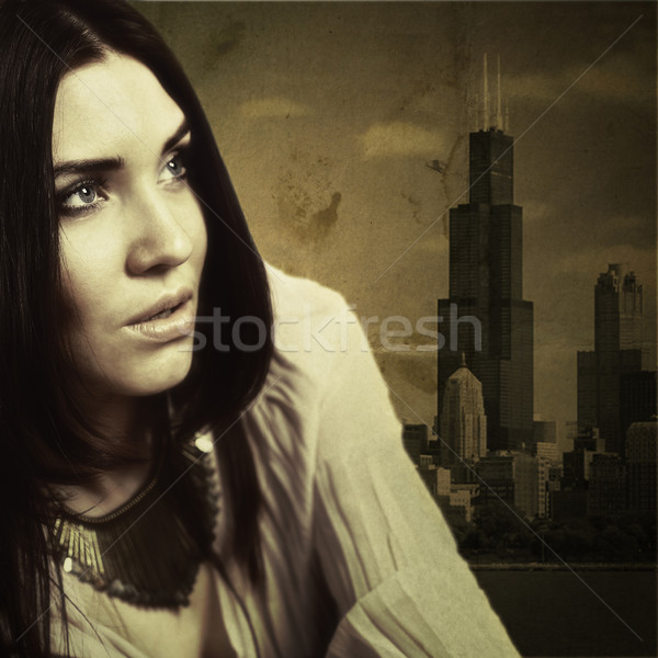 Urban glam. Retro 70th female portrait with grunge texture Stock photo © tolokonov