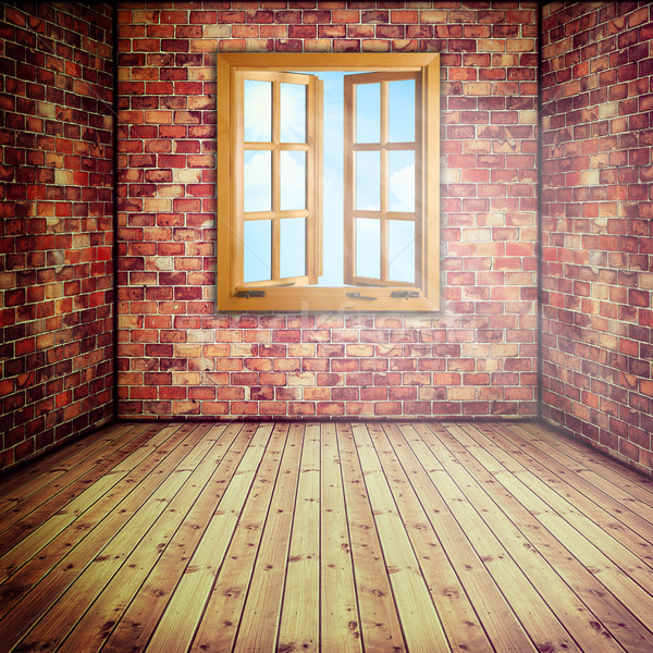 Abstract interior with opened window Stock photo © tolokonov