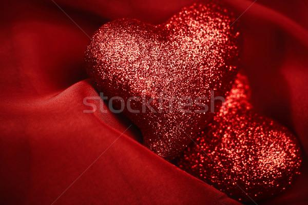 Resumen fondos rojo textiles corazón Foto stock © tolokonov