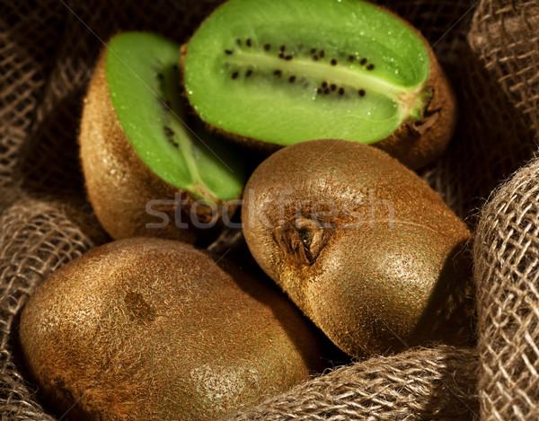 Kiwi fruits toile de jute textiles still life alimentaire Photo stock © tolokonov