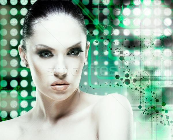 Adult pretty woman stylish portrait. Skin texture saved Stock photo © tolokonov