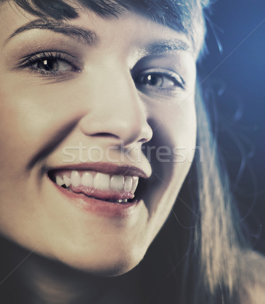 Funny retro styled female portrait with backlit Stock photo © tolokonov