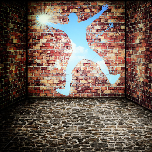 I'm free now! Funny urban backgrounds for your design Stock photo © tolokonov