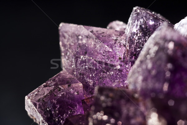 Roxo ametista lado preto natureza rocha Foto stock © tolokonov