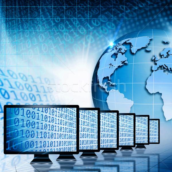 Global communications and internet. Abstract technology backgrou Stock photo © tolokonov