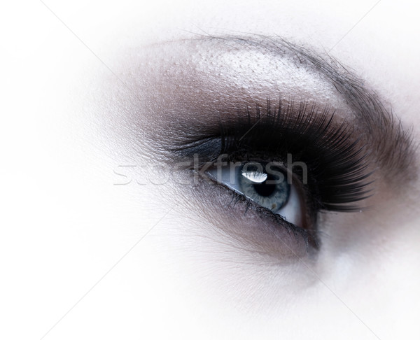 Human eye with eyelashes over white background Stock photo © tolokonov