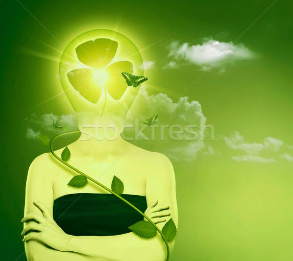 Yeşil enerji eco koruma kadın soyut portre Stok fotoğraf © tolokonov
