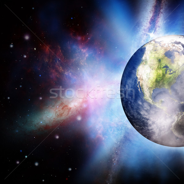 Rising sun under the Earth planet, abstract backgrounds Stock photo © tolokonov