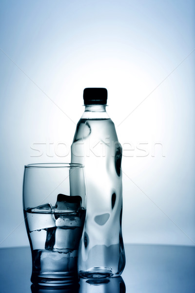 glass of cold mineral water with ice and plastic bottle Stock photo © tolokonov