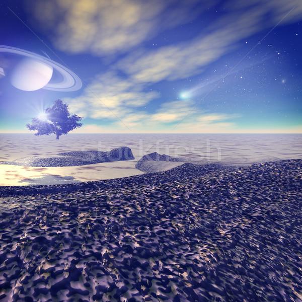 Another world. Fantastic landscape, 3D rendered image Stock photo © tolokonov