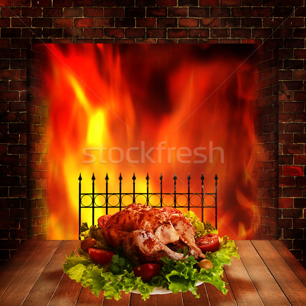 Grilled chicken. Abstract food backgrounds for your design Stock photo © tolokonov
