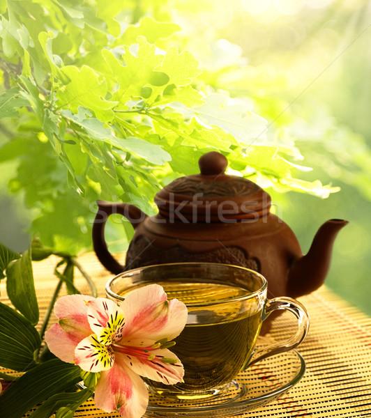 tea ceremony. Green tea, flower and teapot Stock photo © tolokonov