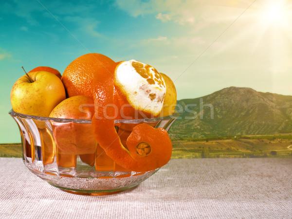 Doğal gıda natürmort çanak taze meyve Stok fotoğraf © tolokonov