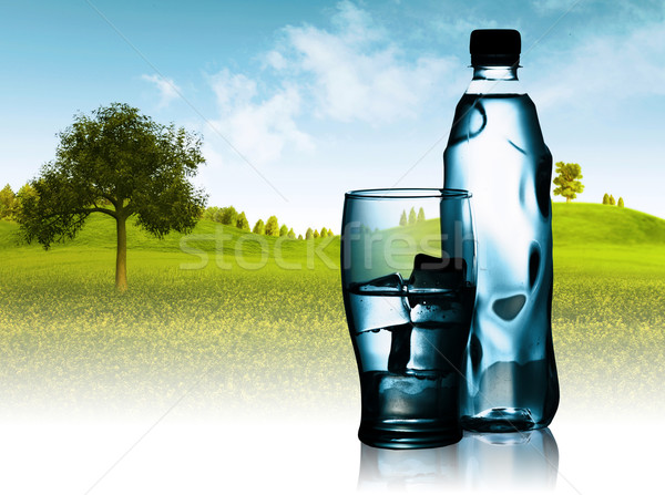 Stock photo: Spring mineral water bottled with glass and ice against natural
