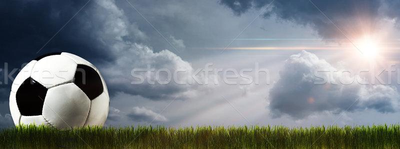 Resumen fútbol fútbol fondos cielo sol Foto stock © tolokonov