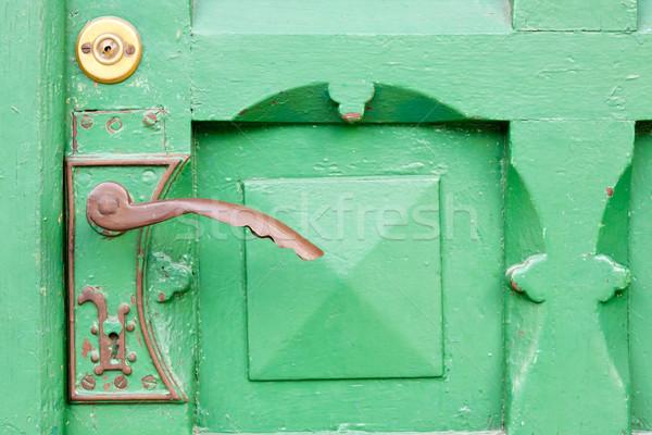 Détail bois porte vue vert maison Photo stock © tomasz_parys