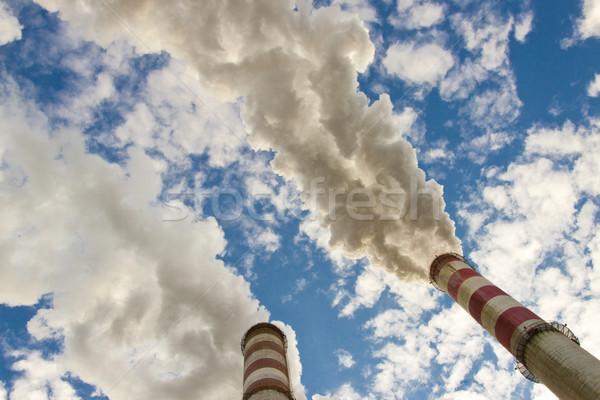 Kettő kémény füst kék ég nagy szén Stock fotó © tomasz_parys