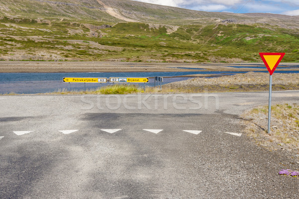 Crossroad and priority right sign - Iceland. Stock photo © tomasz_parys