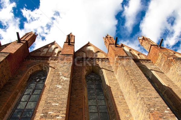 Stock fotó: Fal · öreg · templom · Lengyelország · kilátás · épület