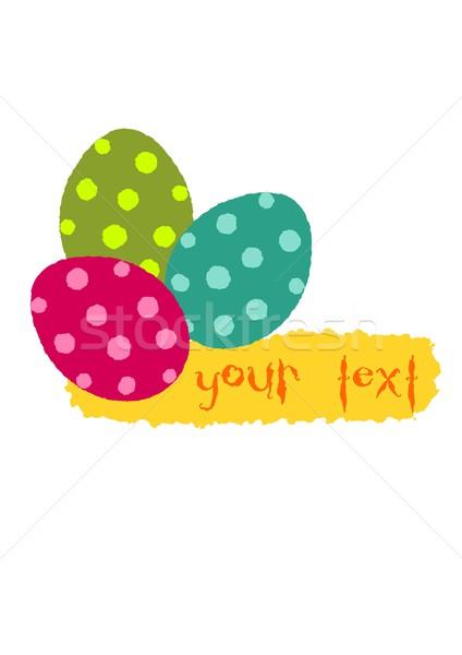 Simple Pâques illustration trois coloré oeufs Photo stock © tomasz_parys