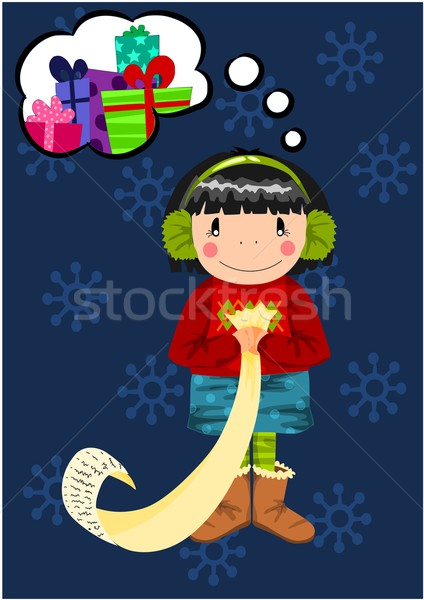 Young girl dreaming about christmas gifts. Stock photo © tomasz_parys