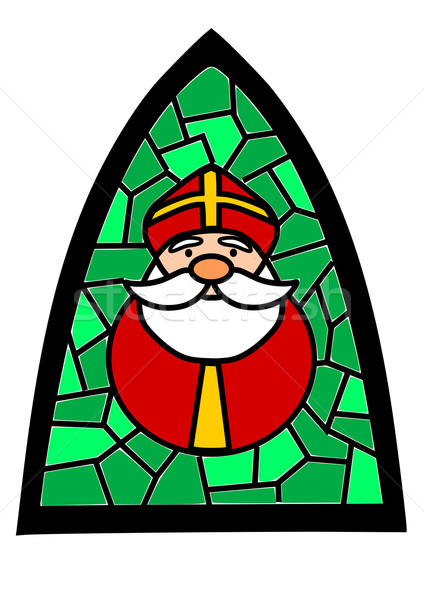 Stained-glass with Santa Claus Stock photo © tomasz_parys