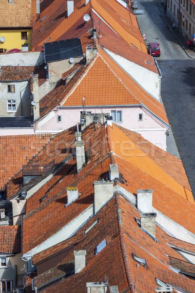 Kırmızı çatılar Polonya kasaba Stok fotoğraf © tomasz_parys