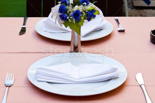 Empty restaurant table - Dubrovnik Stock photo © tomasz_parys