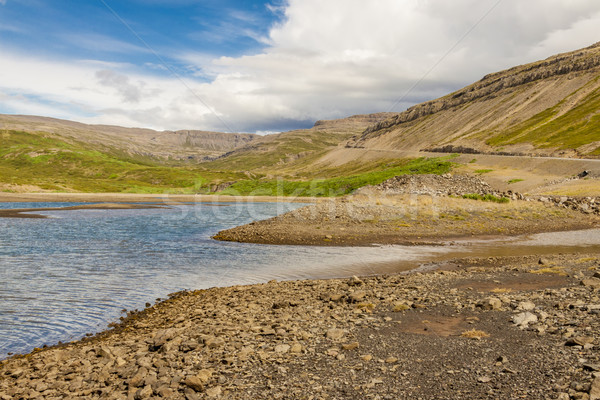 Kilátás szépség nyár nap Izland fű Stock fotó © tomasz_parys