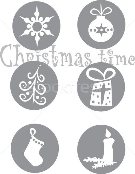 Noel semboller altı gri tekerlekler kar Stok fotoğraf © tomasz_parys