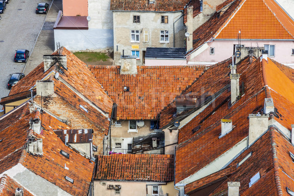 Red roofs - Reszel, Poland. Aerial view. Stock photo © tomasz_parys