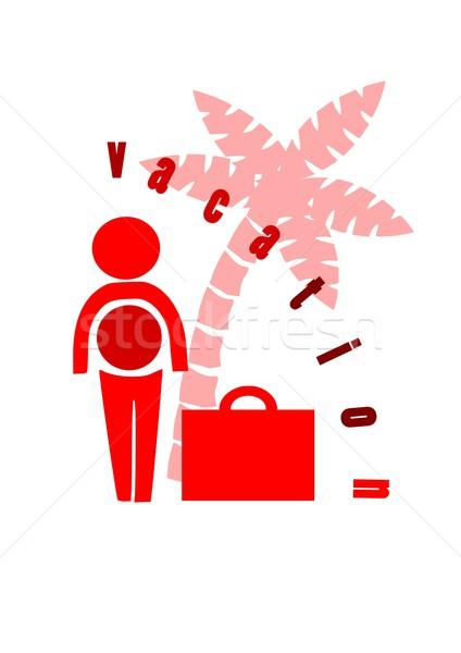 Businessman with suitcase go to holidays. Stock photo © tomasz_parys