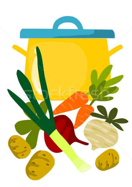 Pot and things for tasty soup - vector illustration. Stock photo © tomasz_parys