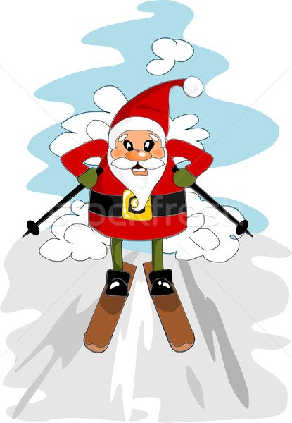 Santa claus on the ski Stock photo © tomasz_parys