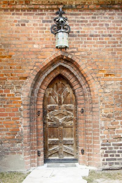 Vieux bois porte église modèle lumière Photo stock © tomasz_parys
