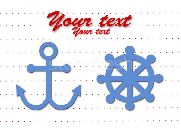 Rudder and anchor simple symbol. Vector illustration with editable place for your text. Stock photo © tomasz_parys