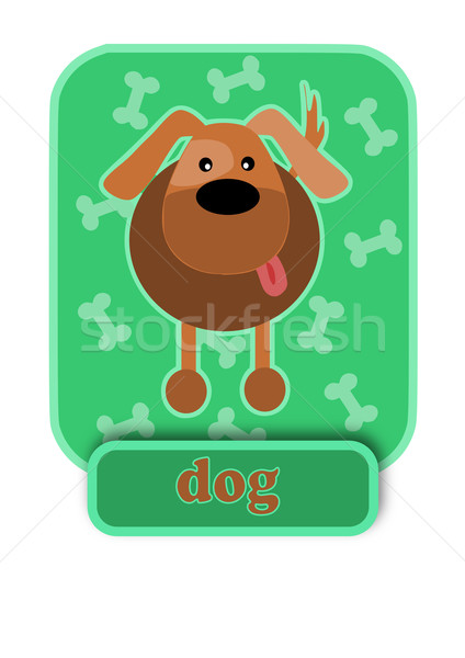 Mongrel dog on green background. Stock photo © tomasz_parys