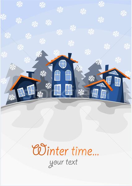 Aldeia colina inverno tempo ver pequeno Foto stock © tomasz_parys