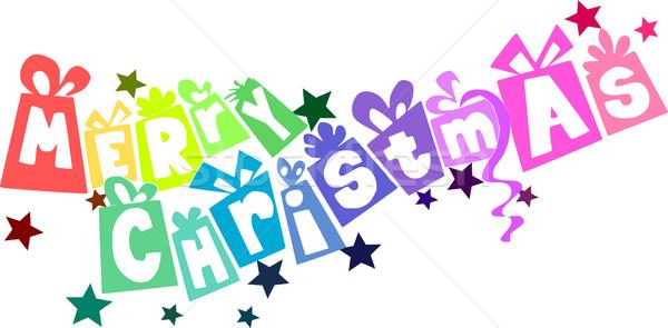 Neşeli Noel metin renkli hediyeler kalp Stok fotoğraf © tomasz_parys