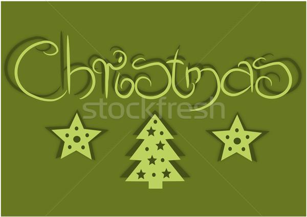 Basit kart yeşil Noel zaman kâğıt Stok fotoğraf © tomasz_parys