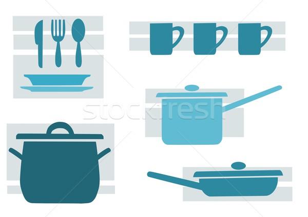 Kitchen tools, blue and beauty vector illustration. Stock photo © tomasz_parys