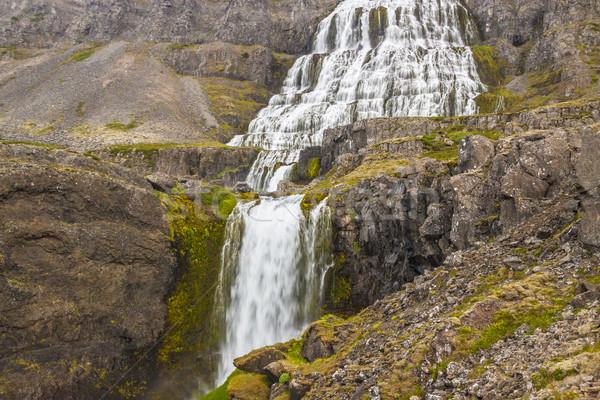 Stock photo: Beauty big Dynjandi waterfall - Iceland, Westfjords.