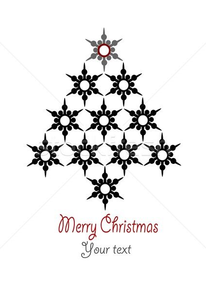 Stock photo: Stars christmas tree with place for your text - editable vector illustration.