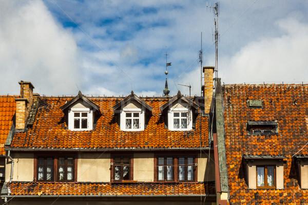 Kırmızı kiremitli çatılar Polonya görmek eski bina Stok fotoğraf © tomasz_parys