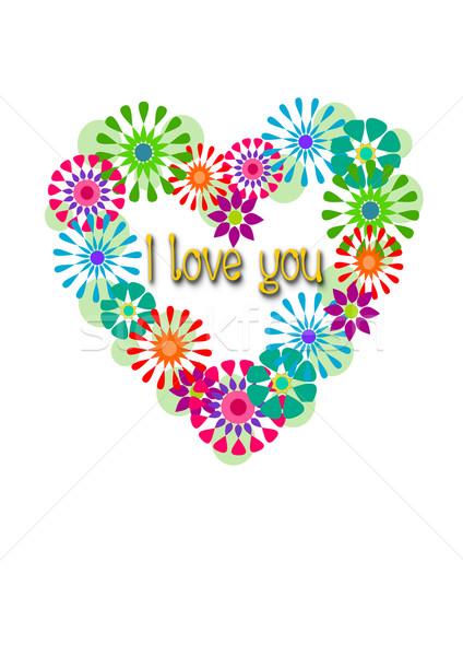 Soyut kalp sevgililer günü renkli çiçekler kâğıt Stok fotoğraf © tomasz_parys