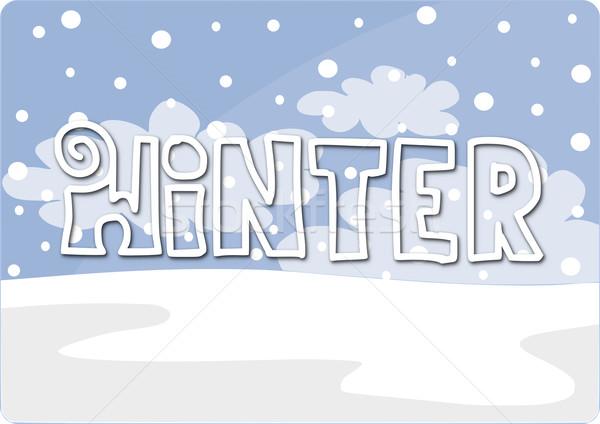Stock fotó: Tél · kártya · szöveg · egyszerű · szépség · tájkép