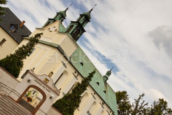 Kilise görmek Polonya gökyüzü su çapraz Stok fotoğraf © tomasz_parys