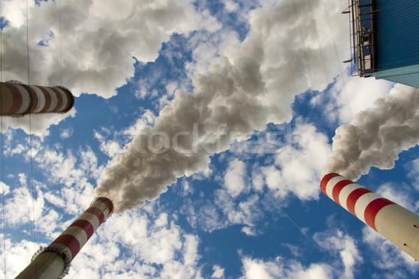 Mavi gökyüzü üç baca büyük kirlenme kömür Stok fotoğraf © tomasz_parys